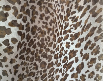 """Scarf  Brown, Ivory Leopard Print Jungle Shawl Wrap 14"""" by 64"""""""