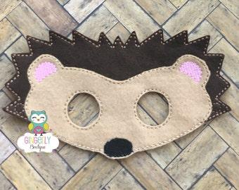 Hedgehog Mask, Kids Dress Up Mask, Hedgehog Costume Mask, Wool Blend Mask, Felt Hedgehog Mask, Jungle Party Favor, Monkey Mask