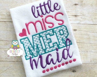Little Miss Mermaid Shirt or Bodysuit, Mermaid Shirt, Mermaid, I Love Mermaids, Mermaid Tail, Mermaid Hair, Mermaid at Heart