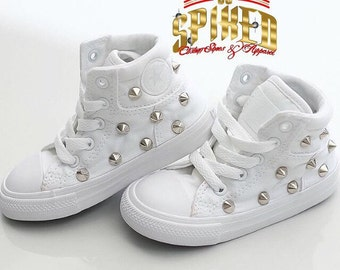 All white custom converse for kids (for small kids see toddler listing)