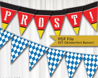 German Inspired Oktoberfest Fall Festival Pennant-Style DIY Banner Instant Download Printable PDF File - Includes All Alphabet & Beer Stein!