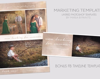 INSTANT DOWNLOAD, Photography Marketing Template, Now Booking, Mini Sessions, FB Timeline Template,  Photography Session, Layered