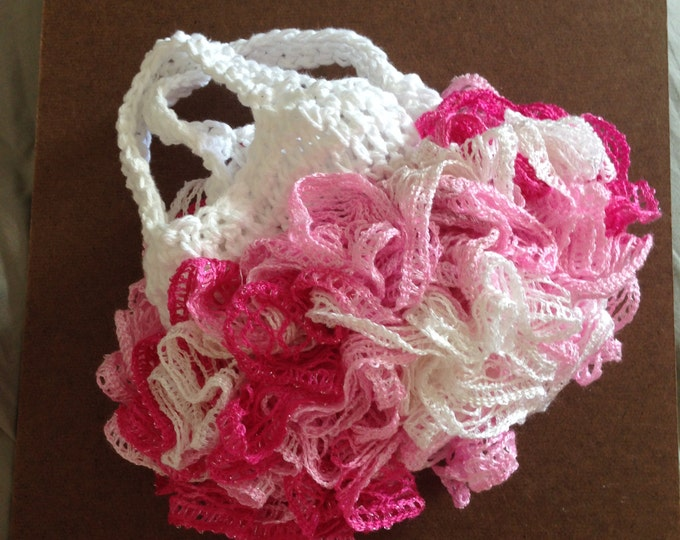 ruffled pink and white crochet purse