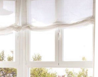 White Sheer Linen Relaxed Flat Faux Roman Shade Valances Curtains