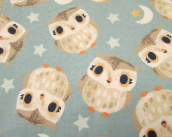 Back to School SALE Flannel Fabric - Nighttime Owls - 1 yard - 100% Cotton Flannel