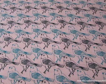 Flannel Fabric - Bird Sketch Pink - 1 yard - 100% Cotton Flannel