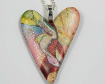 Polymer Clay Heart. Heart Necklace. Polymer Clay Heart Necklace. Pendant. Freeform Heart