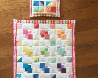 Rainbow Doll Quilt and Pillow