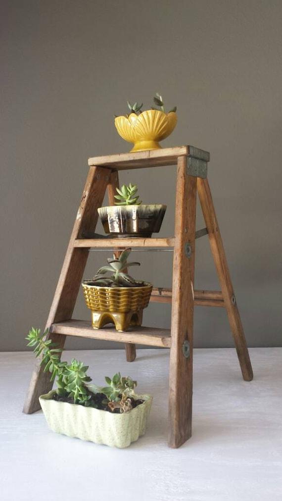 Vintage Wood Step Ladder Rustic Display By Southernhomevintage
