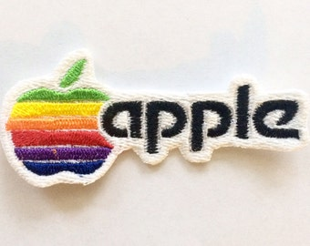 Apple Computer Retro Logo, Iron-on Embroidered Patch