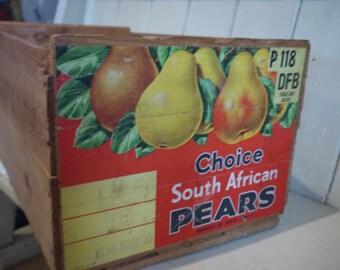 Vintage Wooden Crate - Pear crate - Vintage Crate - Vintage Fruit Crate - Rustic Box - Rustic Wedding