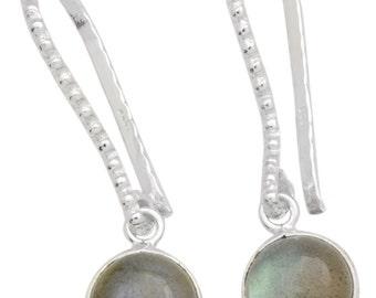 Labradorite Gemstone Earrings Solid 925 Sterling Silver Jewelry IE19710