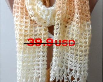 ON SALE Camel crochet shawl scarfs Christmas shawls Elegant Handmade Romantic Chick Shrug floral scarfs Fashion Camel scarfs Winter scarf