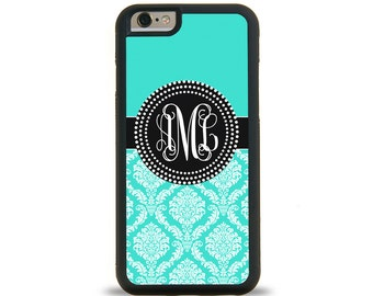 Turquoise Damask Monogram Personalized iPhone Case, Monogram Personalized Galaxy Case