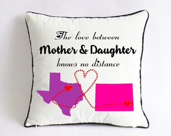 long distance mother daughter pillow case-Christmas gift from daughter-mothers day gift from baby-mother daughter love knows no distance