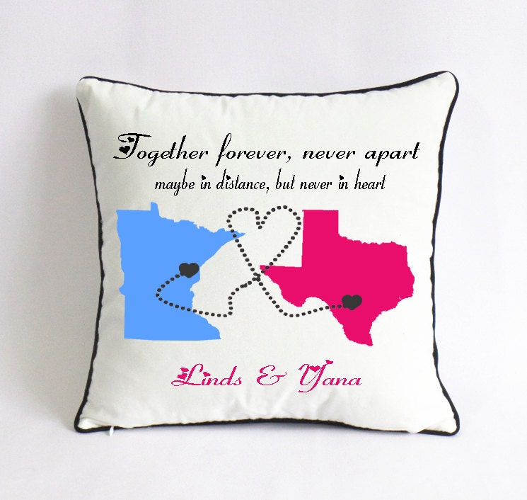 Cute Long Distance Pillow Cases : long distance couple pillow case-couple go away gift-state