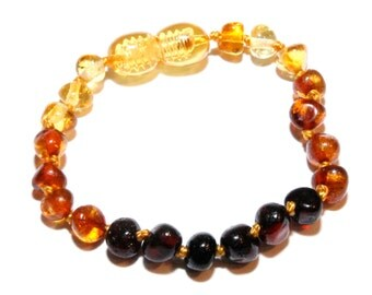Genuine Baltic Amber Baby Teething Bracelet Anklet Rainbow. Authentic 13 - 14 cm/ 5.1 - 5.5 in