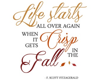 "INSTANT DOWNLOAD Fall Word Art Overlay ""Life Starts"""