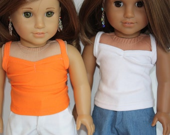 18 inch doll clothes, AG doll clothes made to fit dolls such as American girl, cute tanks/camisoles for 18 inch dolls