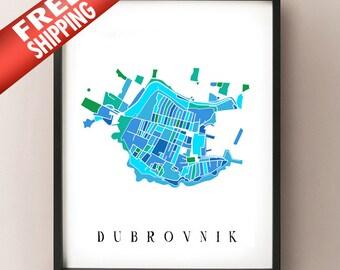 Dubrovnik Colored Art Map - Dubrovnik, Hrvatska umjetnost - Artistic Dubrovnik Croatia Print