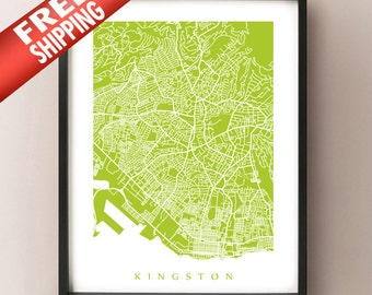 Kingston Map Print - Jamaica Poster