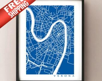Verona Italy Map Art Print