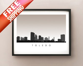 Toledo Skyline - Ohio Poster Print - Cityscape, Silhouette