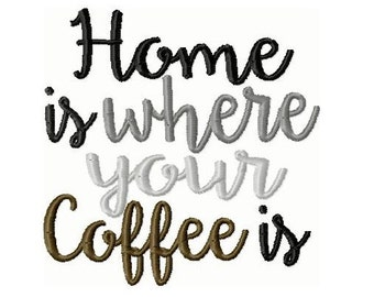 Home is Where your Coffee Is Embroidery Design 4x4 -INSTANT DOWNLOAD-