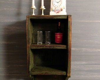Dollhouse Miniature Full Scale Wall Shelf and accessories 1:12 scale  17475
