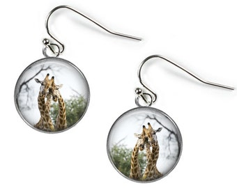 GIRAFFES in LOVE - Glass Photo Earrings - Silver Plated (Art Print Picture AB13)