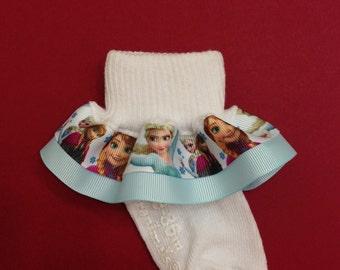 Frozen Ruffle Socks - Frozen Girls Socks - Frozen Elsa and Anna Socks - Ruffle Socks - Character Girl Socks - Disney Frozen Socks
