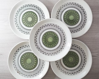 Set of 5 Biltons Staffordshire England Handpainted Ironstone Dinner Plates with Space Age Geomtric Pattern / Green Crop Circle MCM Design