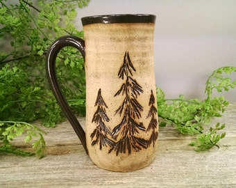 16 oz Triple Evergreen Pine Tree Mug - Stormy Gray - Wheel Thrown and Hand Sculpted Coffee Cup