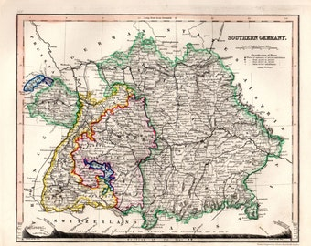 1853 Southern Germany Antique Map Hand Colored Geography Cartography Atlas Maps
