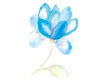 Blue flower, Watercolor print, Flower painting, Flower Art Print from Original Painting, Abstract flower, Watercolor art