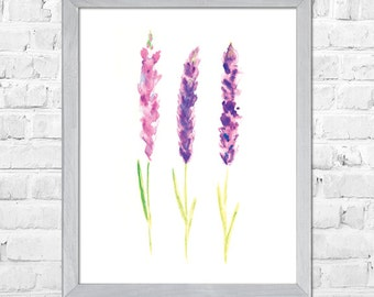 Lavender Watercolor Painting, Herb Art Print, Herb Painting, Herb Kitchen Art, Living Room Decor, Botanical Art