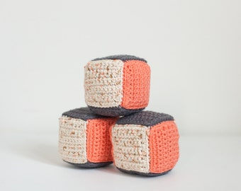 Soft Blocks Set of 3 — Kids Manipulator Toys — Handmade Plush Baby Gift  — Nursery Decor