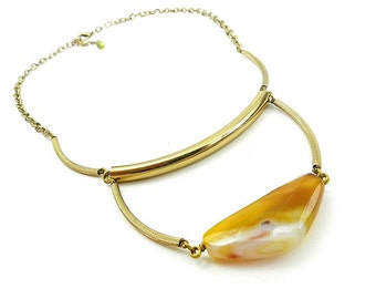 Yellow Agate Necklace / Contemporary Gemstone Necklace With Brass tubes