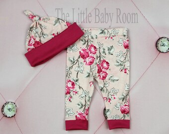 Leggings and Hat Set,Baby Girls Coming Home Set,Baby Leggings,Hat,Matching Set,Floral,Baby,Set,Gray,Pink,Newborn,0-3,mo,3-6,6-12,12,18,24,2T