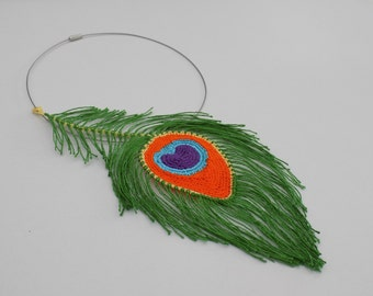 Crochet Peacock Feather Necklace Pattern/crochet peacock feather jewelry/crochet pattern/fiber art/crocheted peacock feather/textile art