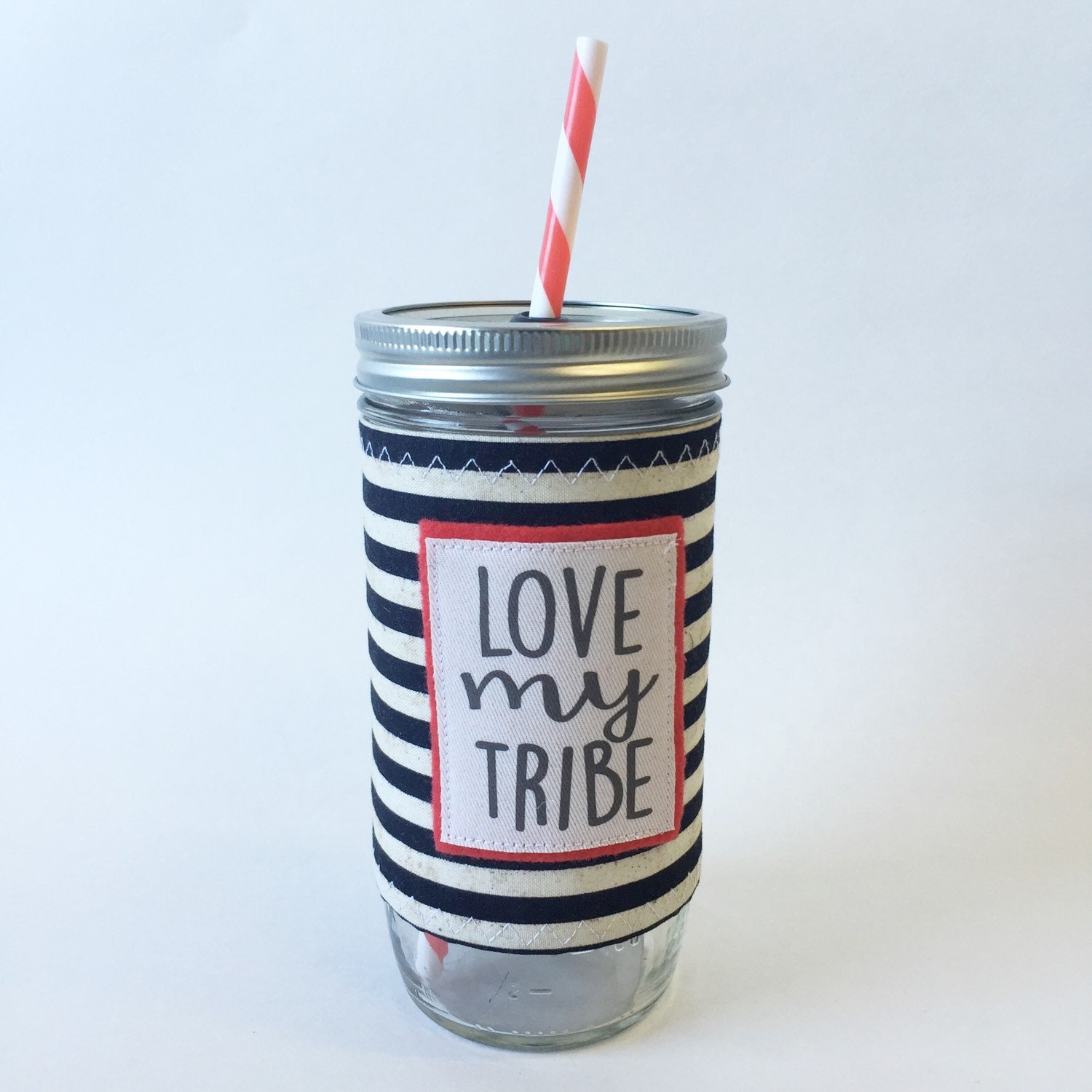 Create Your Own Insulated Mason Jar Sleeve with Quote and Straw