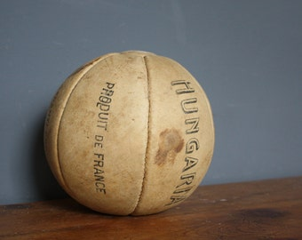Vintage Antique Cream Leather Medicine Ball French Circa 1940's