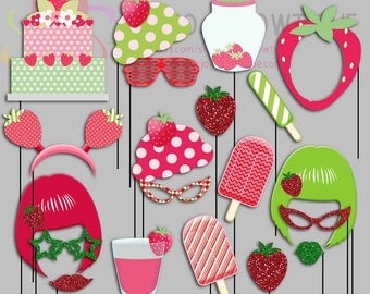 Strawberry Party Photo Booth Props, Strawberry Party Photo Props, Picnic Party