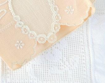 Pink Embroidered Vintage Linen Tea Towel, Cottage Style, Table Mat, Basket Liner, Wedding Linens