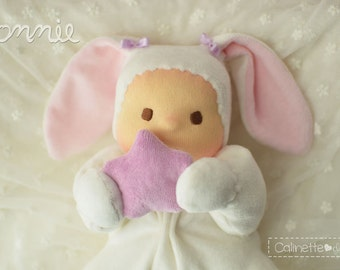 """Bonnie, baby bunny 10"""" Made to order by Calinette"""