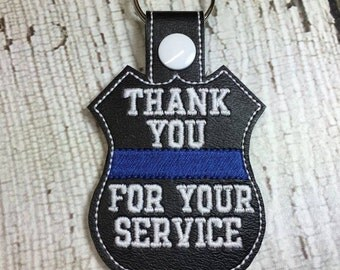 Thank You Badge -  POLICE - Cop - Law Enforcement - In The Hoop - Snap/Rivet Key Fob - Digital Embroidery Design