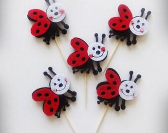 Felt Ladybug Party Picks, Ladybug Toppers, Ladybug Felt Picks, Party Supplies, Ladybug Decor, Felt Ladybug Cupcake Toppers, Food Picks