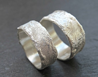 unique wedding rings rustic cool wilderness rings matching wedding bands silver structured rings - Unique Wedding Ring