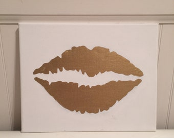 """Gold Lips - Stretched Canvas Painting 8"""" x 10"""""""