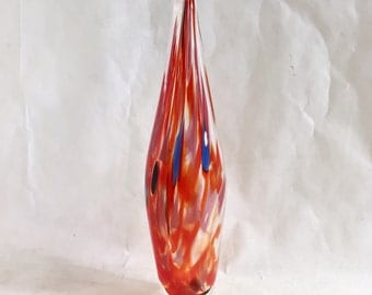 Red Blown Glass Bottle / Vase